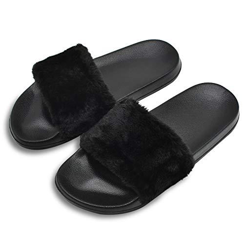 Coface pantofole da donna molle piatte sandali soffici con dolce peluche pantofola outdoor/indoor in 5 colori,black-38