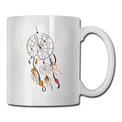 Taza de café Pluma de cumpleaños linda Atrapasueños Taza de té de cerámica