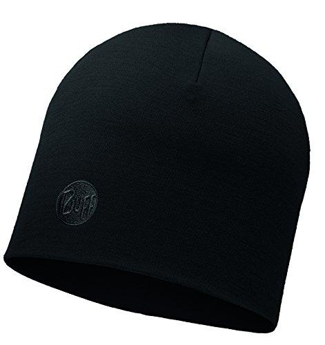 Buff Heavyweight Merino Wool Regular Hat Mütze, Solid Black, One Size