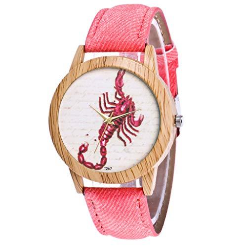 COOKDATE Herren Damen Analog Uhr Dünn Elegant Luxusuhr Geschäft Braun Armband Rosa