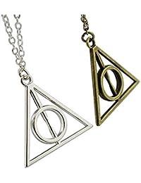 2 Collares con colgante triángulo de Harry Potter y las Reliquias de la Muerte, Deathly Hallows, Color plateado + Bronce Cosplay + Caja para las joyas