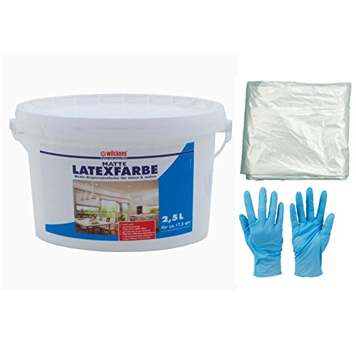 Wilckens 2,5 L Latexfarbe weiße Farbe Latex Matt hochdeckend für innen und außen strapazierfähig inkl. 4x 5m Abdeckfolie und Nitrilhandschuhe (2,5 Liter matt)