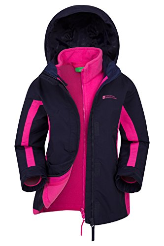 Mountain Warehouse Lightning Wasserfeste 3 in 1 Kinder Winterjacke, Mit Warme Fleecejacke, Regenjacke, Jungen, Mädchen, Funktionsjacke, Doppeljacke, Übergangsjacke Marineblau 128 (7-8 Jahre)