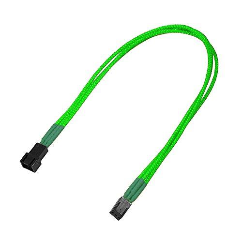 Nanoxia 900800017 3-Pin Molex Verlängerungskabel, 30 cm, Neon-Grüner Einzelsleeve
