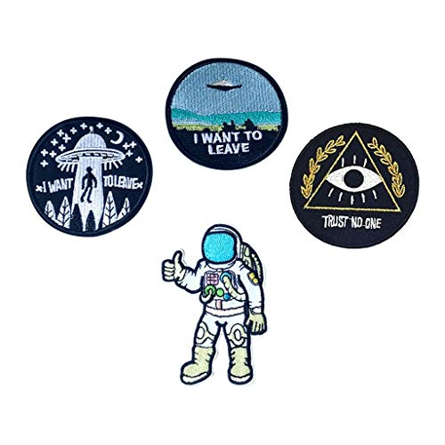 AE Bei Home DIY I Want to Leave UFO Patches Astronaut Patch Trust No One Patch Bestickt