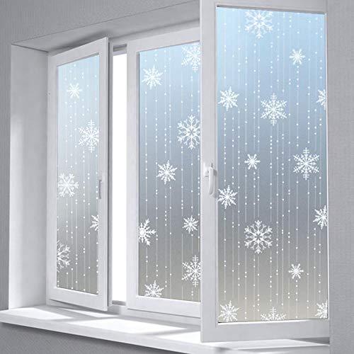 KUNHAN Fensterfolie Sichtschutzfolie 85cm Von 200cm Privatsphäre Dekorativer Glasfensterfilm, 3D Schneeflocke Matt Wohnkultur Sonnenschutz Statische Fensteraufkleber