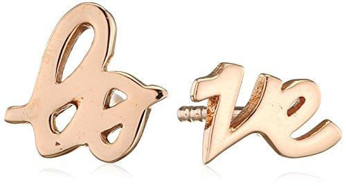 Elli Damen-Ohrstecker Love-Schriftzug rosévergoldet 925 Silber - 0310580314