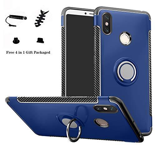 LFDZ Xiaomi Mi MAX 3 Anillo Soporte Funda 360 Grados Giratorio Ring Grip con Gel TPU Case Carcasa Fundas para Xiaomi Mi MAX 3 Smartphone(con 4 en 1 Regalo empaquetado),Azul