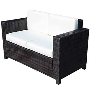 homcom fauteuil canape salon de jardin resine rotin tresse brun 2 places jardin. Black Bedroom Furniture Sets. Home Design Ideas