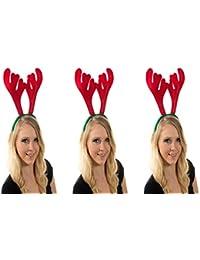 3 er Set Weihnachtsgeweih Elch Geweih Weihnachtsmütze Nikolausmütze Haarreif Grün Rot X52