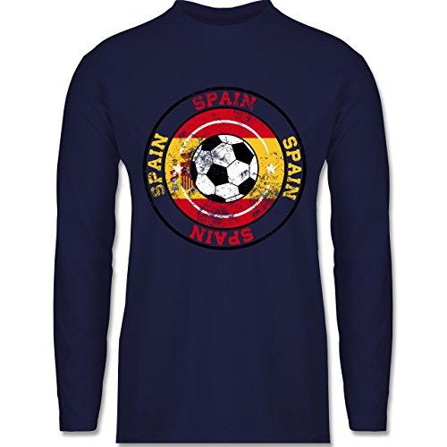EM 2016 - Frankreich - Spain Kreis & Fußball Vintage - Longsleeve / langärmeliges T-Shirt für Herren Navy Blau