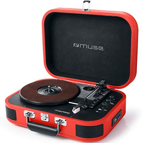 Muse Plattenspieler Mikrosystem mit 3 Geschwindigkeiten, Streaming, USB (Tragbare Retro-plattenspieler)