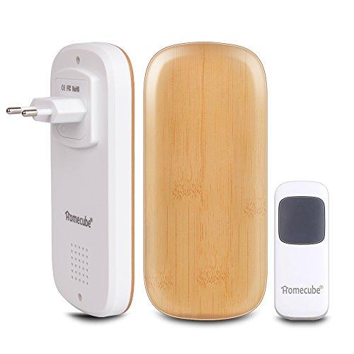 Preisvergleich Produktbild Drahtlose Türklingel, Homecube Tragbare Türklingel 52 Chime / über 984 Ft Reichweite / 1 Push Button mit 2 Plug-In Receiver 4 Lautstärke