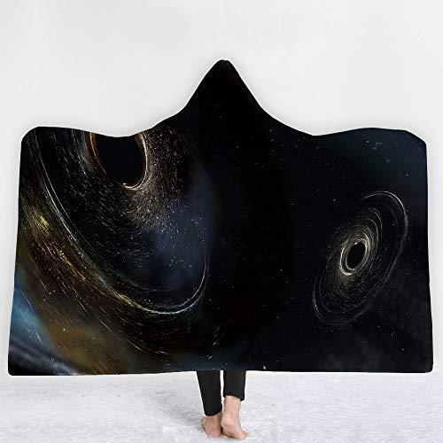zxddzl Neue Winter 3D Star Universum mit Kapuze Decke Sherpa Fleece Ocean Blue Wearable Plüsch Decke auf dem Schlafsofa Dick warm - Fleece-stoff Ocean