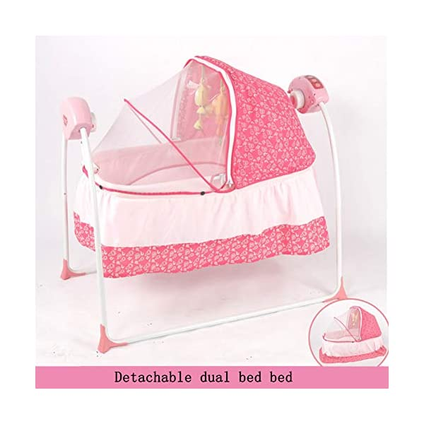 Mr.LQ Baby Cradle Baby Shaker Baby Sleepy Baby Artifact Multi-Function Intelligent Electric Crib,Pink,94x79x42cm  Five advantages of electric cradle 01 easy to sleep, baby is easy to fall asleep, liberating mother's hands 02 puzzle is good for baby brain development 5