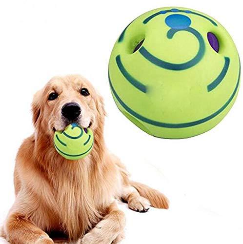 Dog Play Training Wobble Wag Giggle Ball Haustier Spielzeug mit lustigen Sound keine Schaden interaktiv 15,5 cm