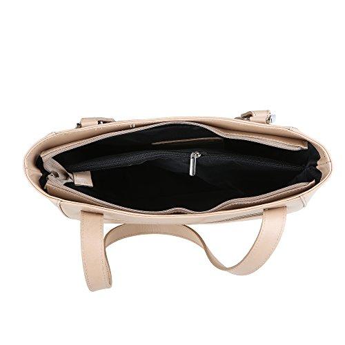 Chicca Borse Frau Schultertasche aus echtem Leder Made in Italy 34x23x10 Cm Schlamm
