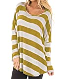 CNFIO Damen Langarm Shirts Sweatshirt Oberteil Bluse Buntes Gestreiftes Pullover Oversize T-Shirt Casual Tops