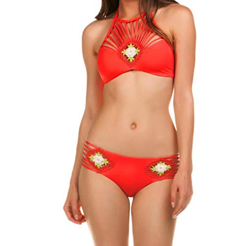 XuxMim Frauen Solide Aushöhlen Bademode Sexy Badeanzug Bikini