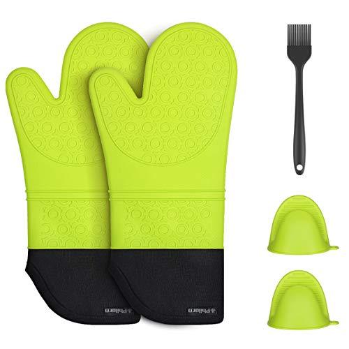 PHILORN Silikon Ofenhandschuh Grillhandschuhe Grill Lederhandschuhe Hitzebeständige Handschuh bis zu 230 °C Universalgröße Kochhandschuhe Backhandschuhe für BBQ Kochen Backen und Schweißen (Neongrün)