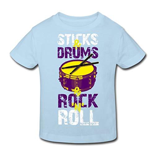 Spreadshirt Sticks&Drums Schlagzeug Kinder Bio-T-Shirt, 152 (11-12 Jahre), Hellblau