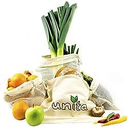 Unita umweltfreundliche Obst- und Gemüsebeutel aus Baumwolle – 4er Set – inkl. Brottasche – Plastikfreie Obstbeutel, Gemüsebeutel und Brotbeutel (M,L,XL) – Baumwolltaschen für den Einkauf