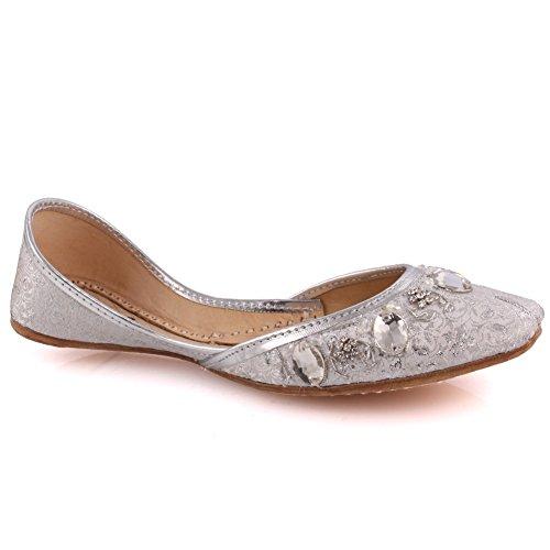 Unze Cuoio Handmade nuova delle donne 'Garnet' tradizionale piatto Khussa Pompa Pantofole Scarpe UK Size 3-8 Argento