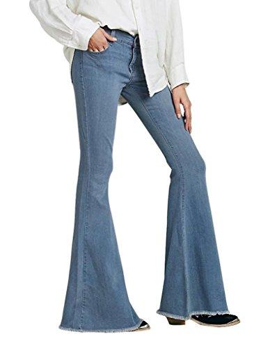 Mena UK- Damen Jeans-Schlaghosen -Damen Schlaghosen mit Stretch-60er/70er Stil mit Retro-Größe XXS XS S M L XL ( Farbe : Hellblau , größe : Xl ) (Schlaghose Baumwoll)