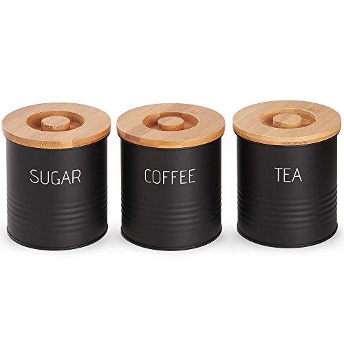 VonShef 3-teiliges Dosenset mit Bambus-Deckeln - Kaffeedosen / Aufbewahrungsbehälter für Kaffee,...
