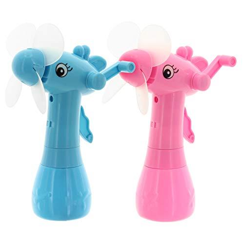 Preisvergleich Produktbild MIK Funshopping Handventilator 2er Set Seepferdchen mit Sprühfunktion und Handkurbel pink blau