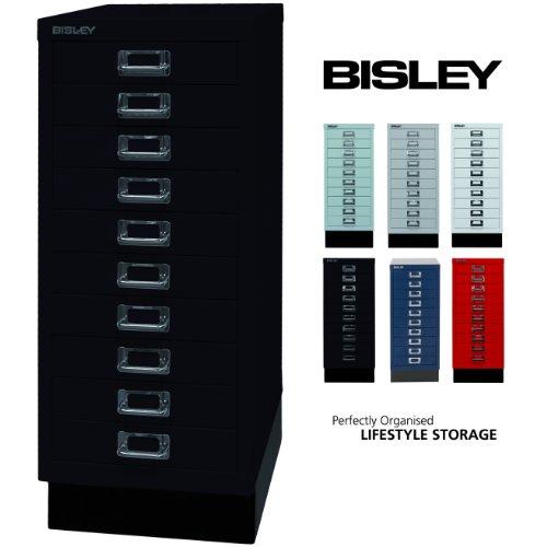 BISLEY Schubladenschrank 29 aus Metall | Schrank mit 10 Schubladen und Sockel | Büroschrank DIN A4...