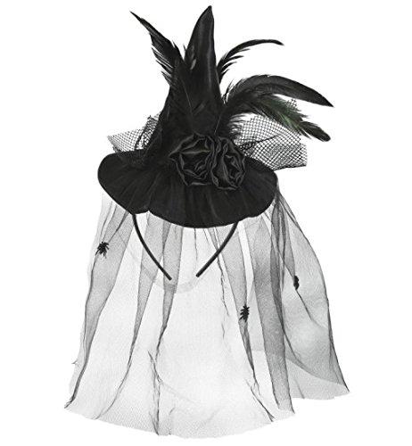 Halloween Hut Minihut Haarreif Hexe Hexenhut edel mit Federn + schwarzen Rosen + Tüll mit kleinen Spinnen