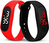SS Collection Red & Black Slim Digital Purple Dial Led Bracelet Band Watch for Boys and Girls Combo Set of 2