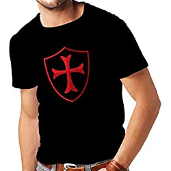 lepni.me Camisetas Hombre Los Caballeros - Escudo de los templarios Orden Cristiana Caballero (Medium Negro