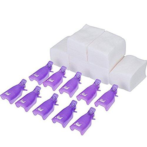 Clip Removedor Esmaltes UV Gel Morado 10 Piezas 420