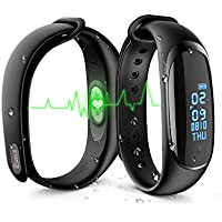 Activity Tracker IP67, EJIKER Fitness Tracker HR Cardio Pedometer Pressione del Sangue Monitor Bluetooth Wrist Bracelet Waterproof for Running and Cycling, Smartwatch Bracelet, Step Sleep Tracker, Calories Tracker, Bracelet Notifications, Smartwatch Band Women Men Fit Watch for iOS Android(Nero)