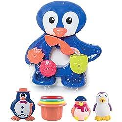 LUDI - Un grand pingouin pour jouer à l'heure du bain. Dès 12 mois. Fixations ventouses. Coffret de jeux d'eau : moulins, verres gigognes percés, coupelle et 3 petits pingouins - réf. 2240