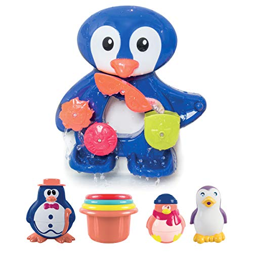 LUDI - Un grand pingouin pour jouer à l'heure du bain. Dès 12 mois. Fixations ventouses. Coffret...
