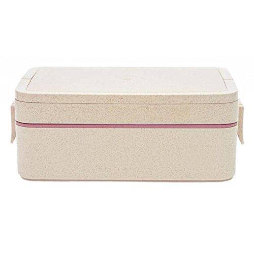 Everyfit Weizenstroh-Lunchbox, tragbare Behälter mit Fächern, Messer, Gabel, Schule, Picknick, Lebensmittelbehälter, Mikrowellen-Bento-Box, Sushi-Box 2_Tier rose