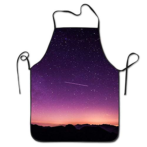 GDESFR Apron with Pock,Purple Universe Deluxe Aprons Personalized Printing Kitchen Apron