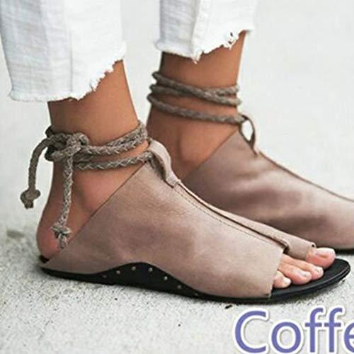 QIMITE Damen-Zehentrenner Frauen Sandalen Flachbild Sommer Style Schuhe Frau Ankle Strap Weiches Leder Sandalen Frauen Plus Größe 35-43 Mode Schuhe Kaffee, Photo Color, 41