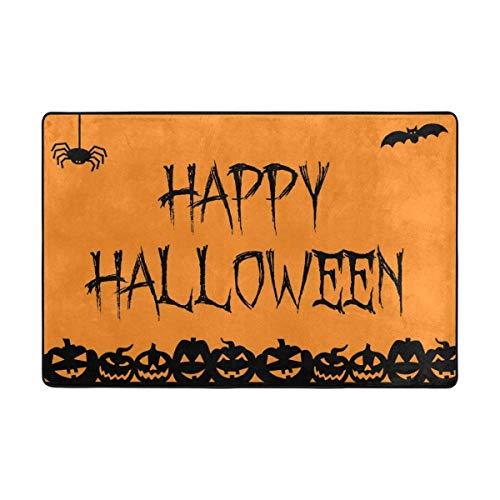 deyhfef Teppich Happy Halloween Lustige Kürbis Fußmatte 15,7 x 23,6, Wohnzimmer Schlafzimmer Küche Badezimmer Dekorative Einzigartige Leichte Gedruckte Teppiche Teppich