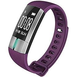 RENJUN EKG-Herzfrequenz-EKG-Blutdruck-intelligentes Armband-wasserdichtes Meter, Das Oben Handänderungsschirm Läuft Smartwatch (Farbe : Purple)