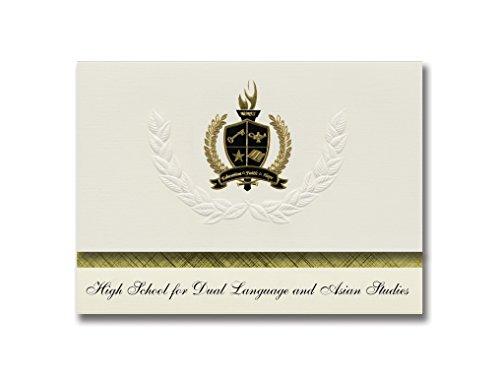 Signature Ankündigungen High School für Dual Sprache und asiatischen Studien (New York, NY) Graduation Ankündigungen, Presidential Basic Pack 25W/Gold & Schwarz Folie Dichtung