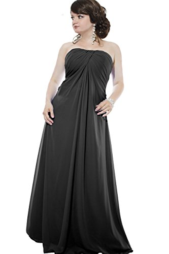 Kleid Dress Damen Abendkleid Partykleid Cocktailkleid Brautkleid Hochzeitskleid Ballkleid Festkleid Chiffon Bodenlang Juju & Christine div. Farben Größen Schwarz