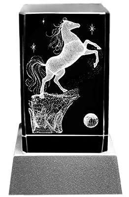 Kaltner Präsente Pferde Stimmungslicht Glasquader 3D Laser Kristall Glasblock mit LED Beleuchtung - Motiv Pferd von Kaltner Präsente - Lampenhans.de