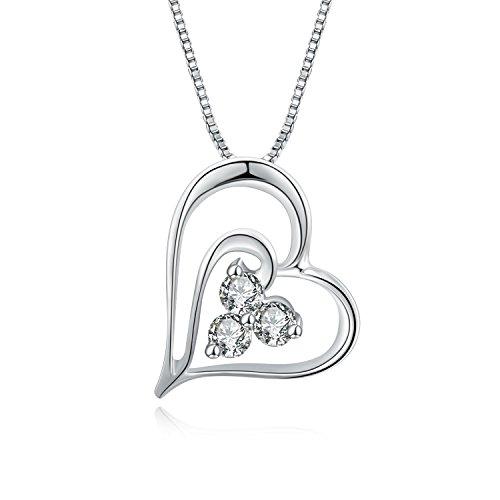 A forma di cuore in oro bianco 18 kt con pendente a triplo, accento diamante, argento, lunghezza 41 cm, lunghezza 40 cm, ø 0,11 cttw, certificato G-H, VS2, purezza SI1)