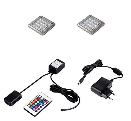 2er Set LED Unterbaustrahler RGB mit Fernbedienung EEK A