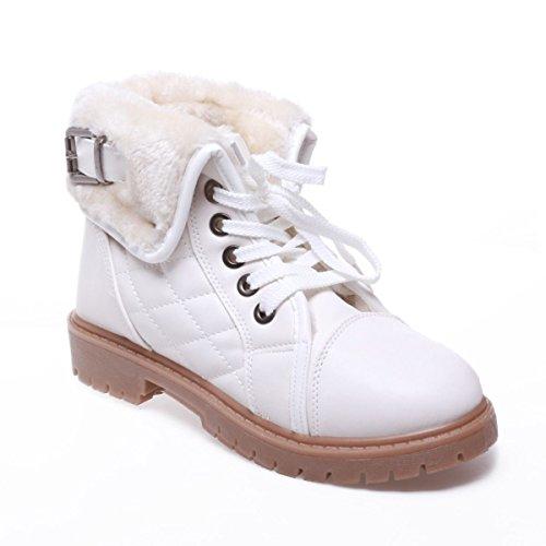 La Modeuse - Bottines aspiration rangers en simili cuir Blanc