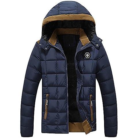 LaoZan Chaqueta acolchada con Capucha Abrigo de invierno para Hombre XL Azul marino